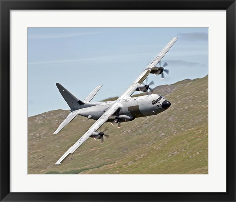 Framed C-130J Super Hercules low flying over North Wales on a training flight Print