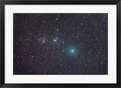 Framed Comet Hartley 2 as it approaches the Double Cluster in Perseus Print