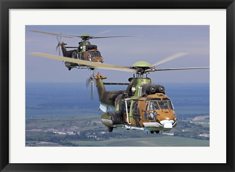 Framed Eurocopter AS532 Cougar helicopters in flight over Bulgaria Print