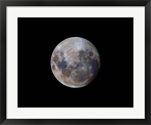 Framed true colors of the moon during the 2010 perigee Print