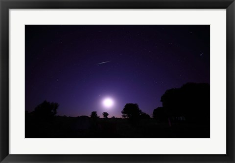 Framed bolide from the Geminids meteor shower above a setting moon in Mercedes, Argentina Print