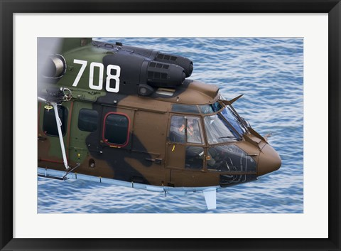 Framed Bulgarian Air Force Eurocopter AS532 AL Cougar over the Black Sea Print