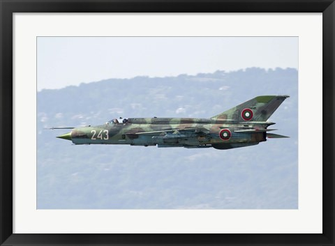 Framed Bulgarian Air Force MiG-21bis low flying over Bulgaria Print