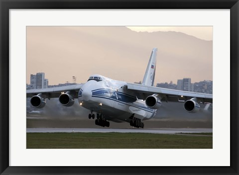 Framed Antonov An-124 aircraft taking off from Sofia Airport, Bulgaria Print