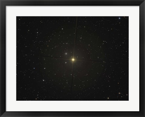 Framed red giant star Beta Andromedae and its ghost galaxy NGC 404 Print