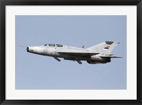 Framed Serbian Air Force MiG-21UM jet fighter Print
