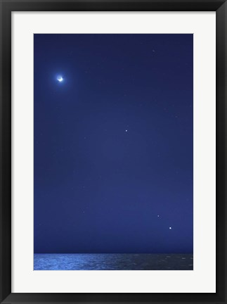 Framed Conjunction of the moon, Jupiter, Mars and Venus Print