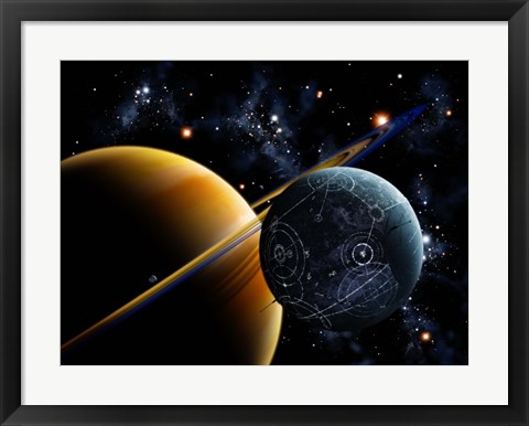 Framed Two artificial moons travelling around a gas giant devouring the natural moons Print