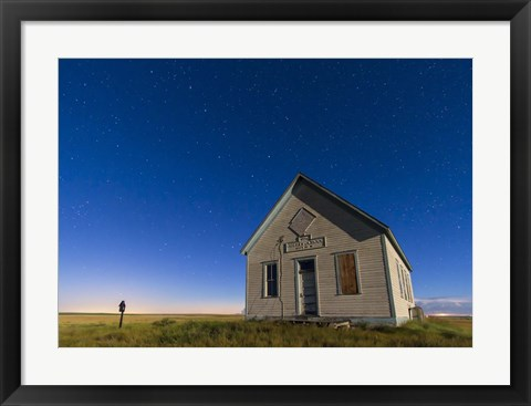 Framed 1909 Liberty School on the Canadian Prarie in moonlight with Big Dipper Print
