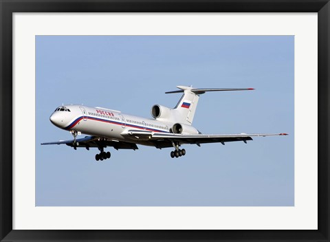 Framed Tupolev Tu-154M on final approach in Bulgaria Print