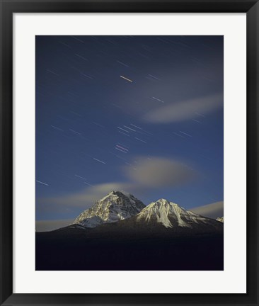 Framed Orion star tails over Mt Temple, Banff National Park, Alberta, Canada Print