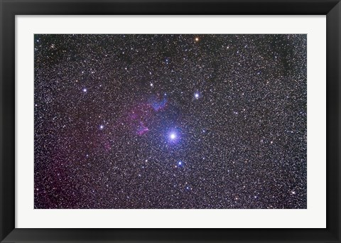 Framed IC 59 and IC 62 faint reflection nebulae near Gamma Cassiopeia Print
