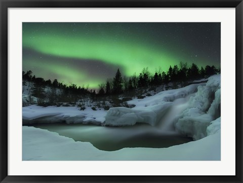 Framed wintery waterfall and aurora borealis over Tennevik River, Norway Print