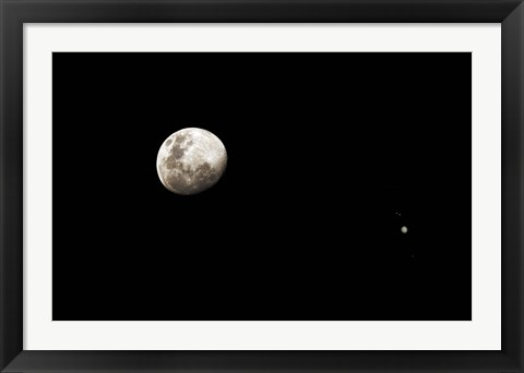 Framed Earth's moon and Jupiter separated by six degrees Print
