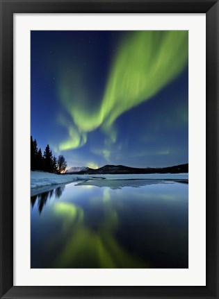 Framed Aurora Borealis over Sandvannet Lake in Troms County, Norway Print