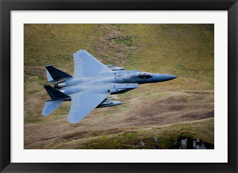 Framed F-15E Strike Eagle low flying over North Wales Print