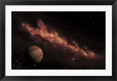 Framed Artist's concept of an H II region of space, wrapped in a dark nebula Print