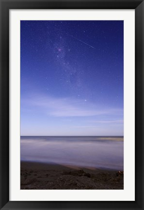 Framed meteor crossing the Milky Way, Miramar, Argentina Print