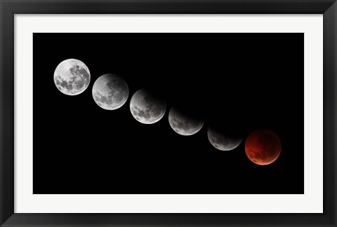 Framed composite showing different stages of the 2010 solstice total moon eclipse Print