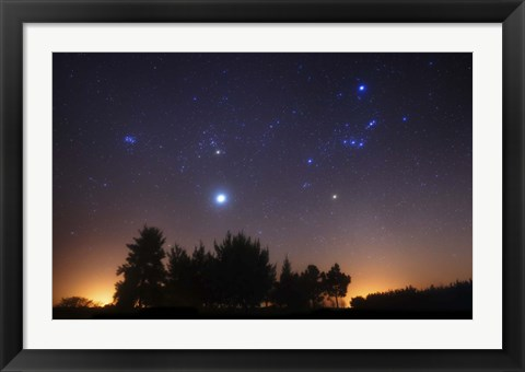 Framed Pleiades, Taurus and Orion with Jupiter over Doyle, Argentina Print