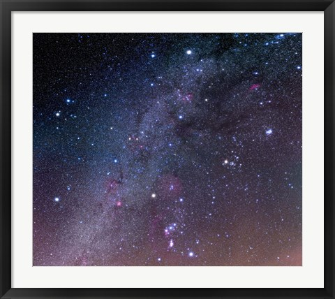 Framed Winter sky panorama with various deep sky objects Print