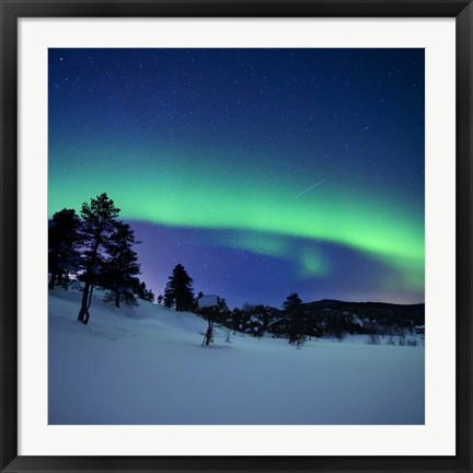 Framed Aurora Borealis and a shooting star in the woods of Troms County, Norway Print