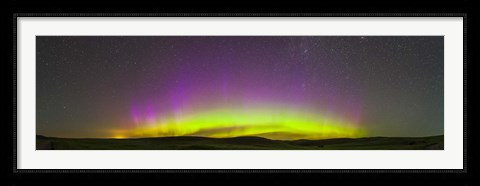Framed Panoramic view of northern lights on the horizon, Saskatchewan, Canada Print