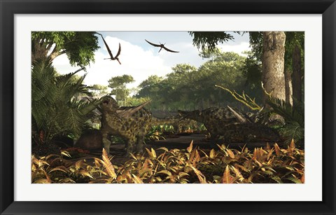 Framed group of Ankylosaurid dinosaurs from the early Cretaceous Print