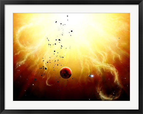 Framed Artist's concept of a manned expedition to the inner planets of a raging star Print