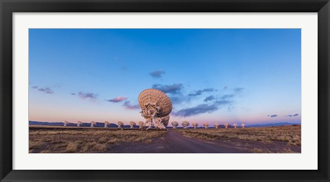 Framed Very Large Array radio telescope in New Mexico at sunset Print
