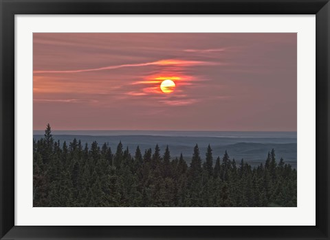 Framed Sunset at Horseshoe Canyon, Cypress Hills Interprovincial Park, Alberta, Canada Print