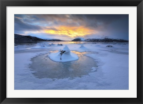Framed frozen fjord that is part of Tjeldsundet in Troms County, Norway Print