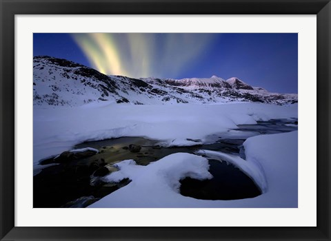 Framed Northern Lights in Skittendalen Valley, Troms County, Norway Print