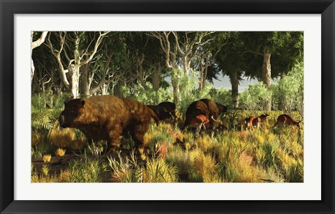Framed Diprotodon on the edge of a Eucalyptus forest with some early kangaroos Print
