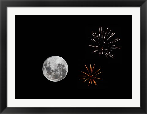 Framed composite image with fireworks and a new Moon Print