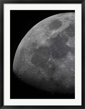 Framed limb and terminator of the waxing gibbous moon Print