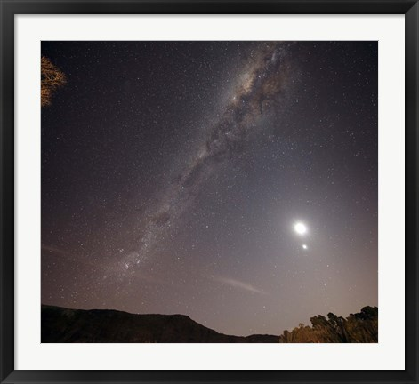 Framed Milky Way, the Moon and Venus over the fields in Azul, Argentina Print
