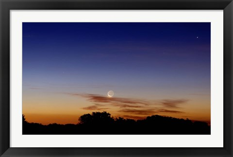 Framed Moon and Jupiter in conjunction with Jupiter's moons Print