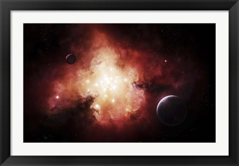 Framed birth of numerous stars exposing their light to the universe Print