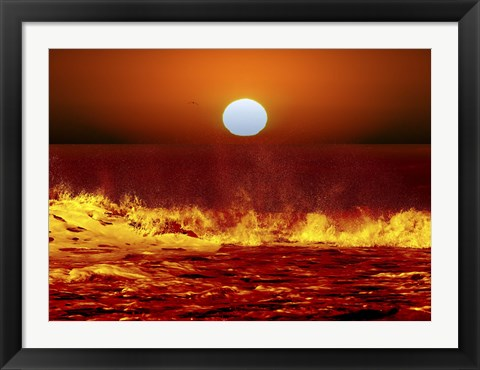 Framed Sun and ocean waves in Miramar, Argentina Print