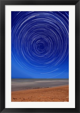 Framed Star trails around the south celestial pole at the beach in Miramar, Argentina Print