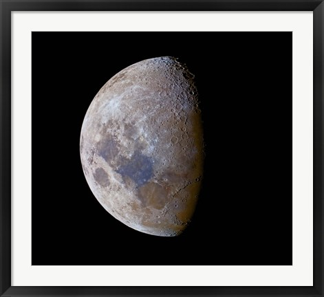 Framed crescent moon past first quarter in color Print