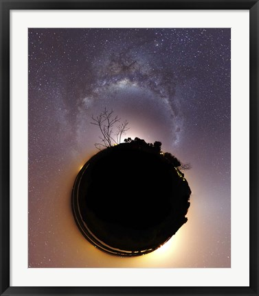 Framed Milky Way and zodiacal light presented as a mini planet Print