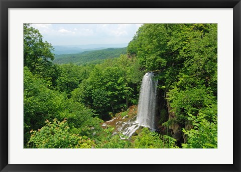 Framed Waterfall and Allegheny Mountains Print
