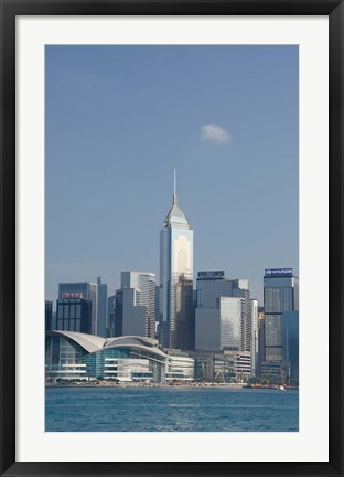 Framed City skyline view from Victoria Harbor, Hong Kong, China Print