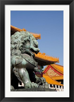 Framed Bronze mythological lion statue, Forbidden City, Beijing, China Print