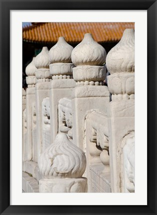 Framed China, Beijing, Forbidden City. Emperors palace, ornate marble bridge. Print
