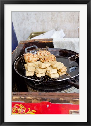 Framed China, Shanghai. Village of Zhujiajiao. Homemade snacks cooked in wok. Print