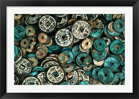 Framed Antique Chinese Coins and Reproductions at a Street Market, Shandong Province, Jinan, China Print