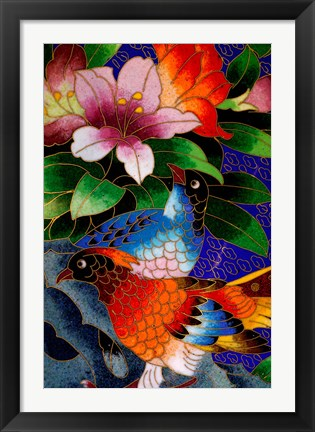 Framed Bird Cloisonne Plate, Hand Made with Tiny Copper Wires and Powered Enamel, China Print